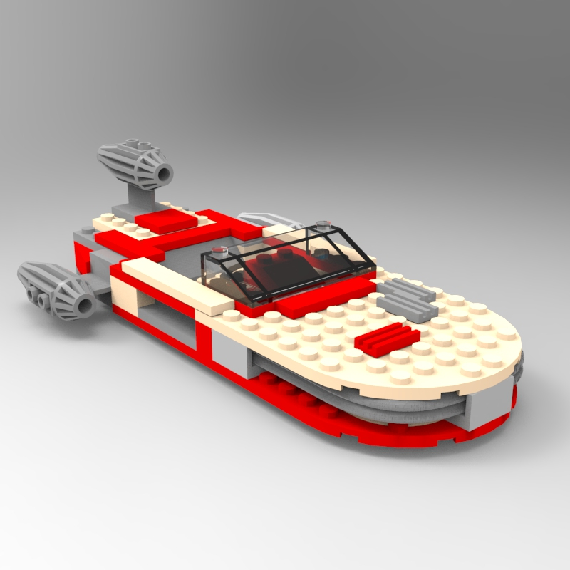 Modular Brick Landspeeder: A rendering of a digital model of the LEGO Landspeeder.