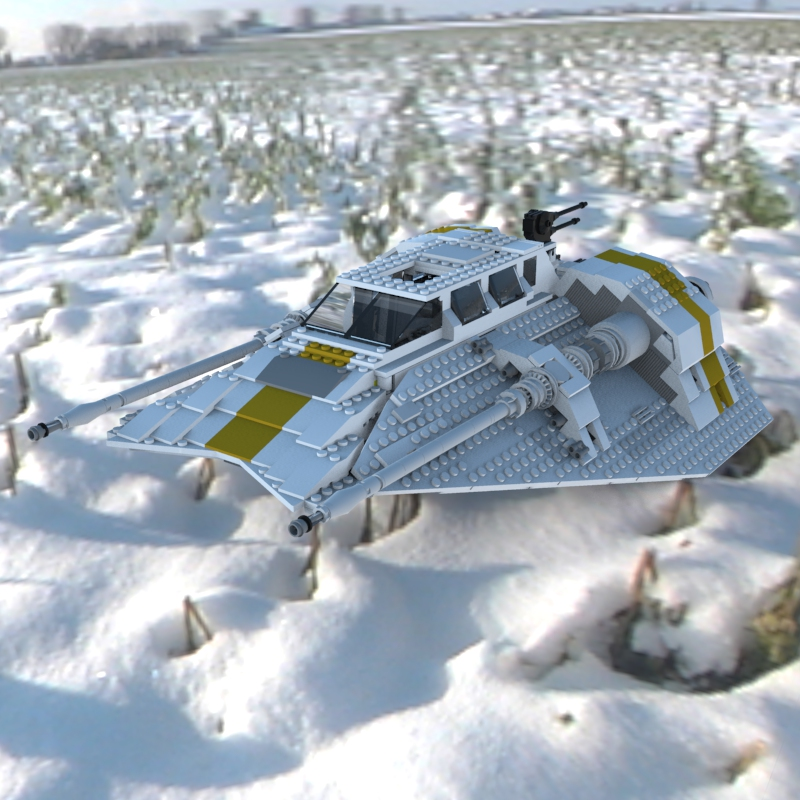 Modular Brick Snowspeeder 10129 2: An HDRI rendering of a digital model of the `Collector Edition` LEGO Snowspeeder (kit #10129). This model has over 535,840 polygons!