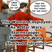 Click to see the full-sized image: 'Clickbait: Woman Cosplays as Stormtrooper'.