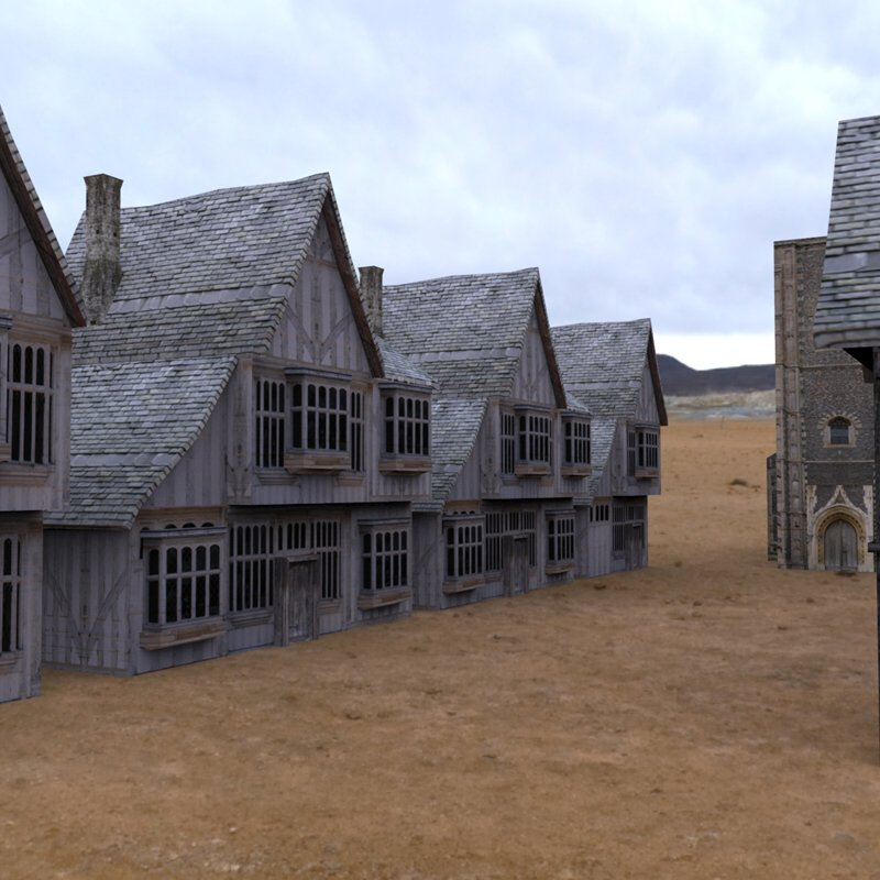 Medieval Buildings Village 1: An HDRI-rendered image of the Low Polygon Medieval Buildings.
