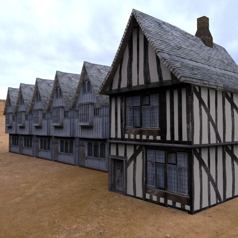 Medieval Buildings Village 2: Another HDRI-rendered image of the Low Polygon Medieval Buildings by Arteria3D.