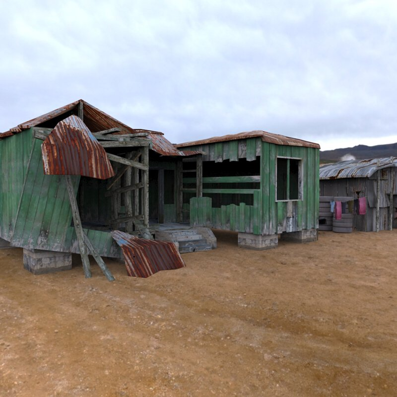 Shanty Town 1: An HDRI-rendered image of the Shanty Town Buildings by Arteria3D.