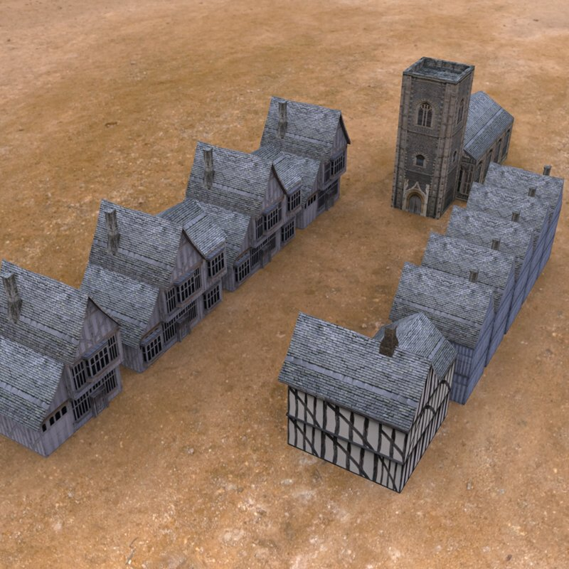 Low Poly Medieval Buildings From Above: A view of the low poly medieval buildings from above.