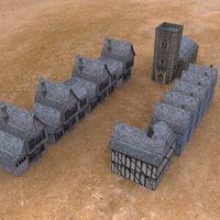 Click to see the full-sized image: 'Low Poly Medieval Buildings From Above'.