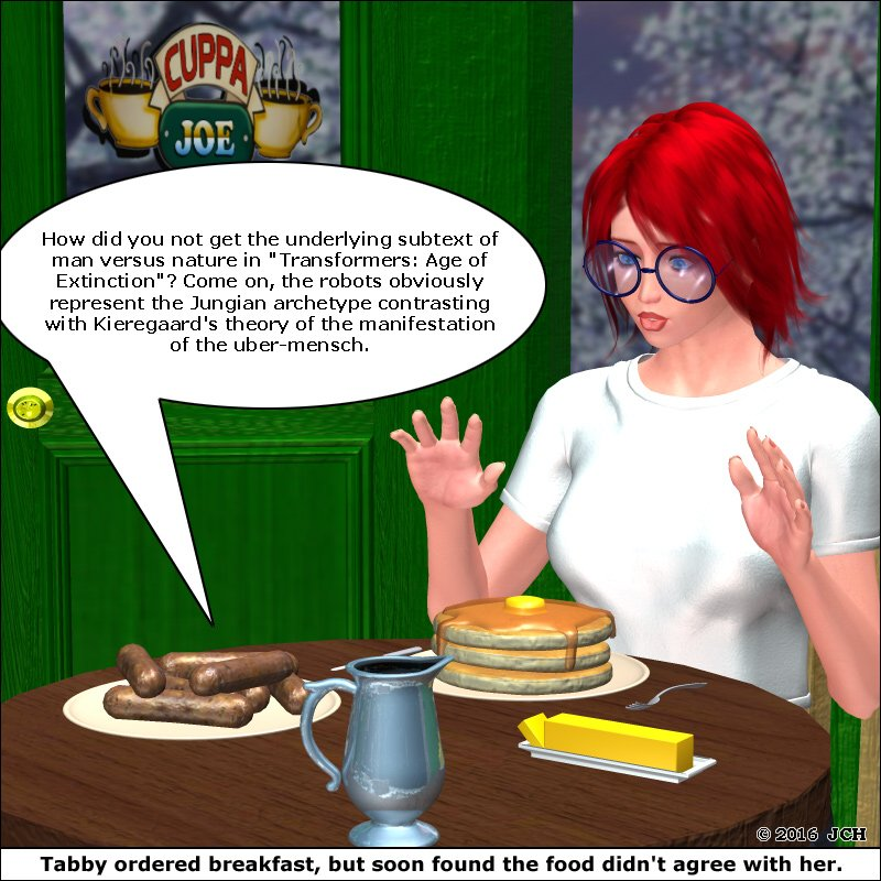 Food Doesn`t Agree With Her: Rendered in Poser Pro 2012.