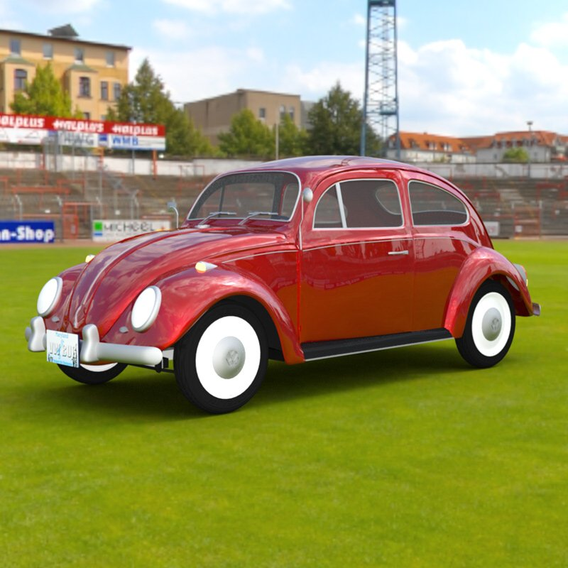 VW Beetle In A Stadium: A Volkswagen Beetle rendered in DAZ Studio 4.9 with Iray and with an HDRI skydome.