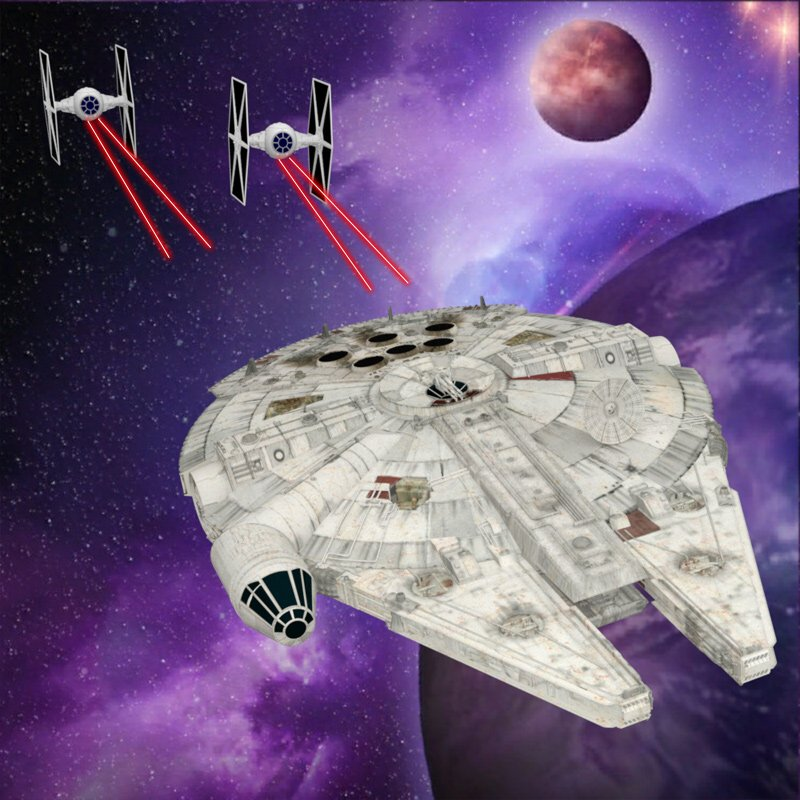 Millennium Falcon Dogfight: Rendered in DAZ Studio 4.9 with Iray.