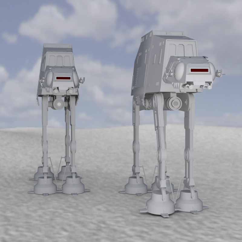 AT-AT Attack: An HDRI-rendered image of the AT-AT. Rendered in DAZ Studio/ Iray.