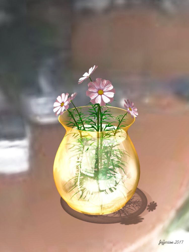 Flower: Flowers in glass vase rendered in Poser.