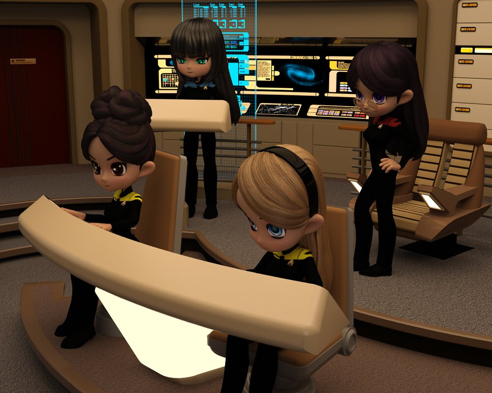 Cookies on the TNG Bridge: Scene created and rendered in DAZ Studio/ Iray.