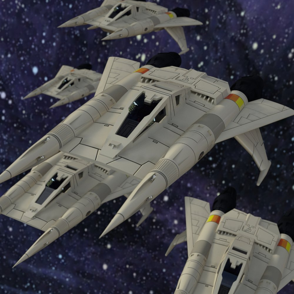 Starfighter Squadron: A squadron of Starfighters. Created in DAZ Studio 4.9; Starfighter available in the Free Stuff section.