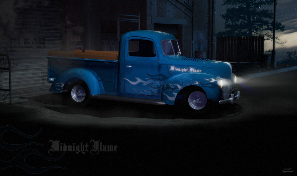 Midnight Flame: The Midnight Flame for the Ford Truck Texture was painted in Photo Impact 12. Rendered in Poser 7 Firefly. Some Postwork on the Frontlights. Hope you like it :O)