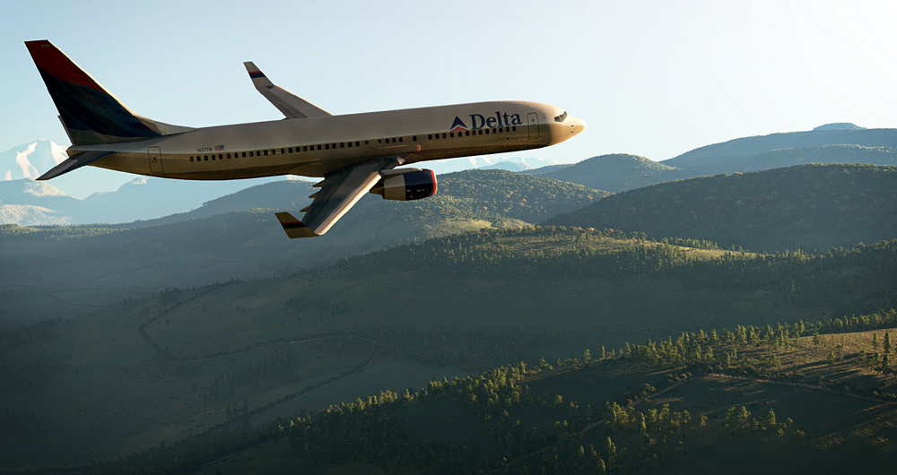 Boeing 737 Fly Over: A Boeing 737-800 flies over a landscape. Created and rendered in Vue.