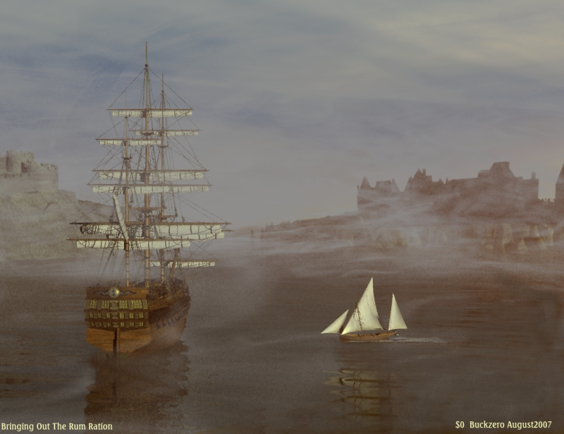 Bringing Out the Rum Ration: Used Sail Dock Ship San Juan (for Poser, reduced in size from 1300 by 1000. Rendered in Bryce