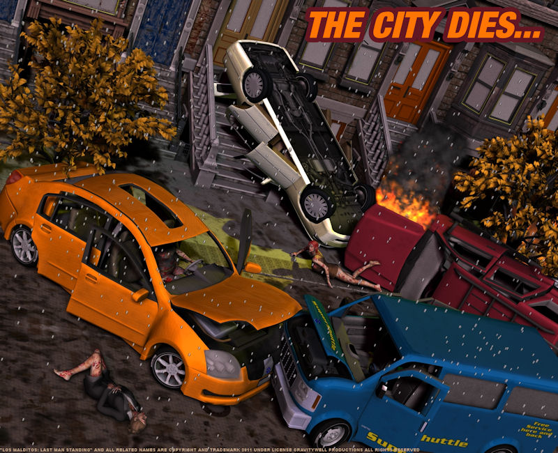 The City Dies...: Using some of the highest quality models from Vanishing Point and a Brownstone scene, it was possible to create this scene of destruction. The city of Colostrum is being taken over by some misunderstood entity, what`s going on?