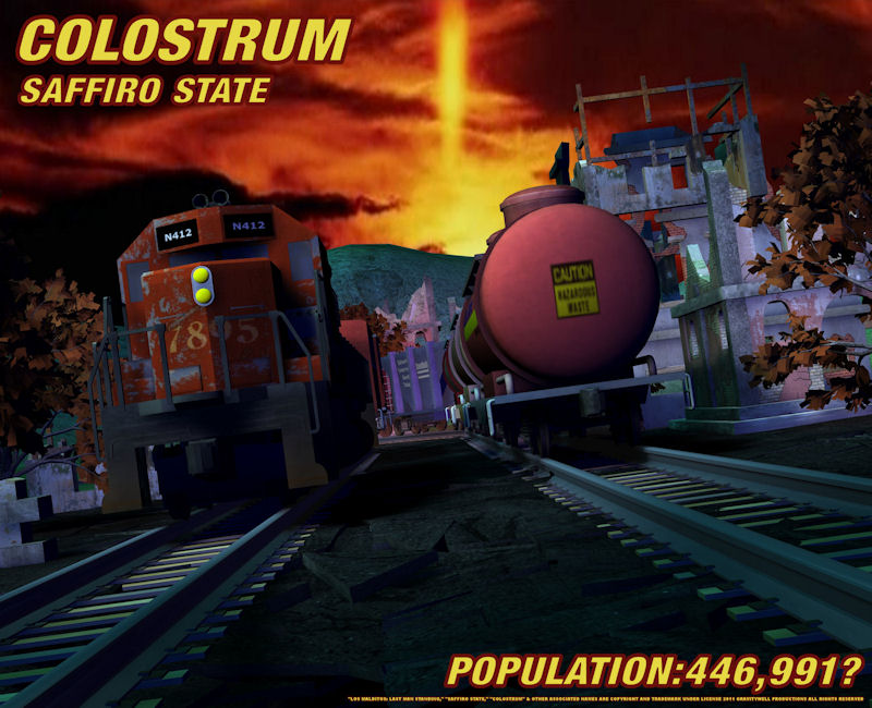 Colostrum: Nothing says industry than trains. And nothing looks scarier at night than industrial areas. The rusty metal, the chains that sway in the wind. Sun sets over the city of Colostrum, perhaps for the last time... for the living.