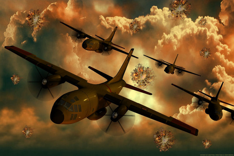 C-27 Squadron: A squadron of C-27 aircraft narrowly dodges enemy fire.