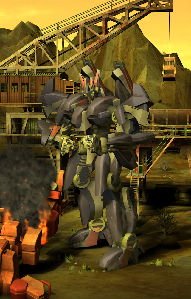 Mobilizing the Forces: A mech stands ready over the mobilizing troops.