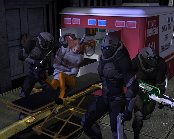 Whisked Away: The squad takes <i>something</i> into the ambulance...