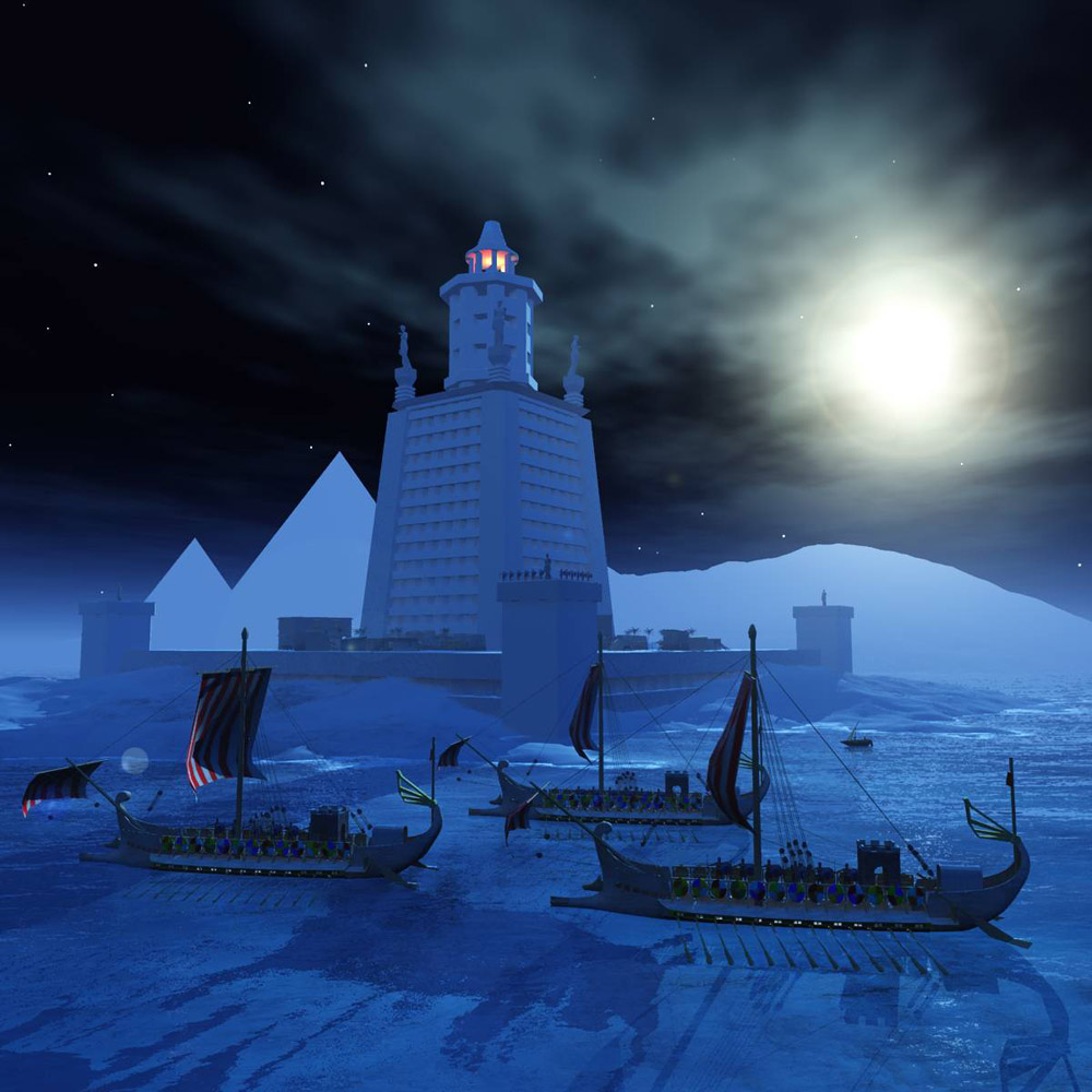 Pharoah`s Lighthouse at Night: An image of the Pharoah`s Lighthouse at night.