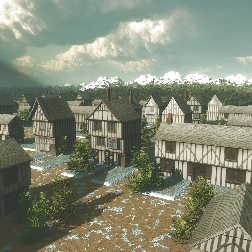 A Quaint Medieval Village: A village made with the Medieval Village models. Rendered in Vue.