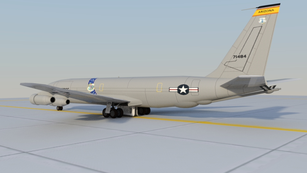 KC-135E 57-1484: A work in progress.  Worked up a texture for the 707 to represent KC-135E 57-1484, ex-Arizona ANG.  The boom was a quick concoction of DAZ Studio primitives.  Rendered in DAZ Studio/Iray.  Feedback welcome!