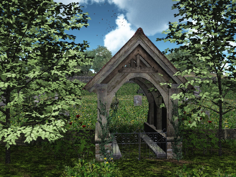Lychgate: Lychgate and Grave Stones are from Dark_Anvils collection of Models.