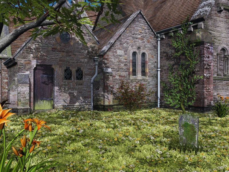 Dandelions: A scene made using Dark_Anvils Church in vue 6.