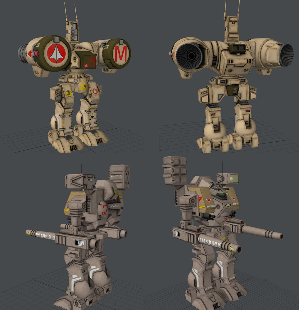 Retextured Robotech Destroid models: I used these 2 models for learning about texture baking.  Great models and textures already to start with but did not show off the model details.  Big fan of robotech btw.  I had to redo the UVs but got them working in Poser.  Thanks!  These are just preview pics, No shadows.