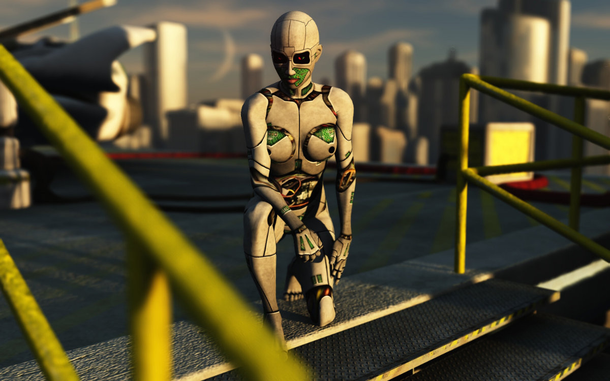 SydVorg Waiting: I used mrsparky`s SydVorg in Poser 7; rendered in Vue 6 Esprit. I blurred the camera to put more focus on the SydVorg and to give the drawing a better depth of field. I played around with different facial expressions but on this model the default looks better (to me) and more appropriate for a robot. Thanks to mrsparky for a nice model - I had a great time working with this one.