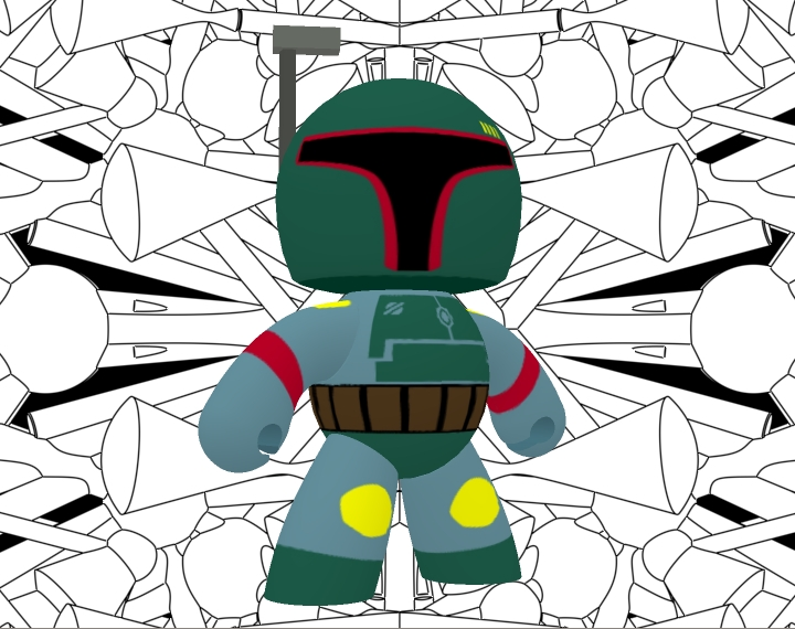 Veeple Boba Fett: I got excited when I saw that Content Paradise, SmithMicro, PoserPro, Groboto, Anime Studio & Manga Studio were following me on Twitter, so I decided to make a new texture for the beloved Veeple Male from Vanishing Point (purchased at Content Paradise) based on Boba Fett`s Mighty Muggs toy. The texture was made in Anime Studio (I love working it Vector-style), the background was made in Groboto, and it was rendered in Poser 6. Enjoy!  I`ll share the texture if you want, I`m planning on doing more Star Wars Veeple textures.