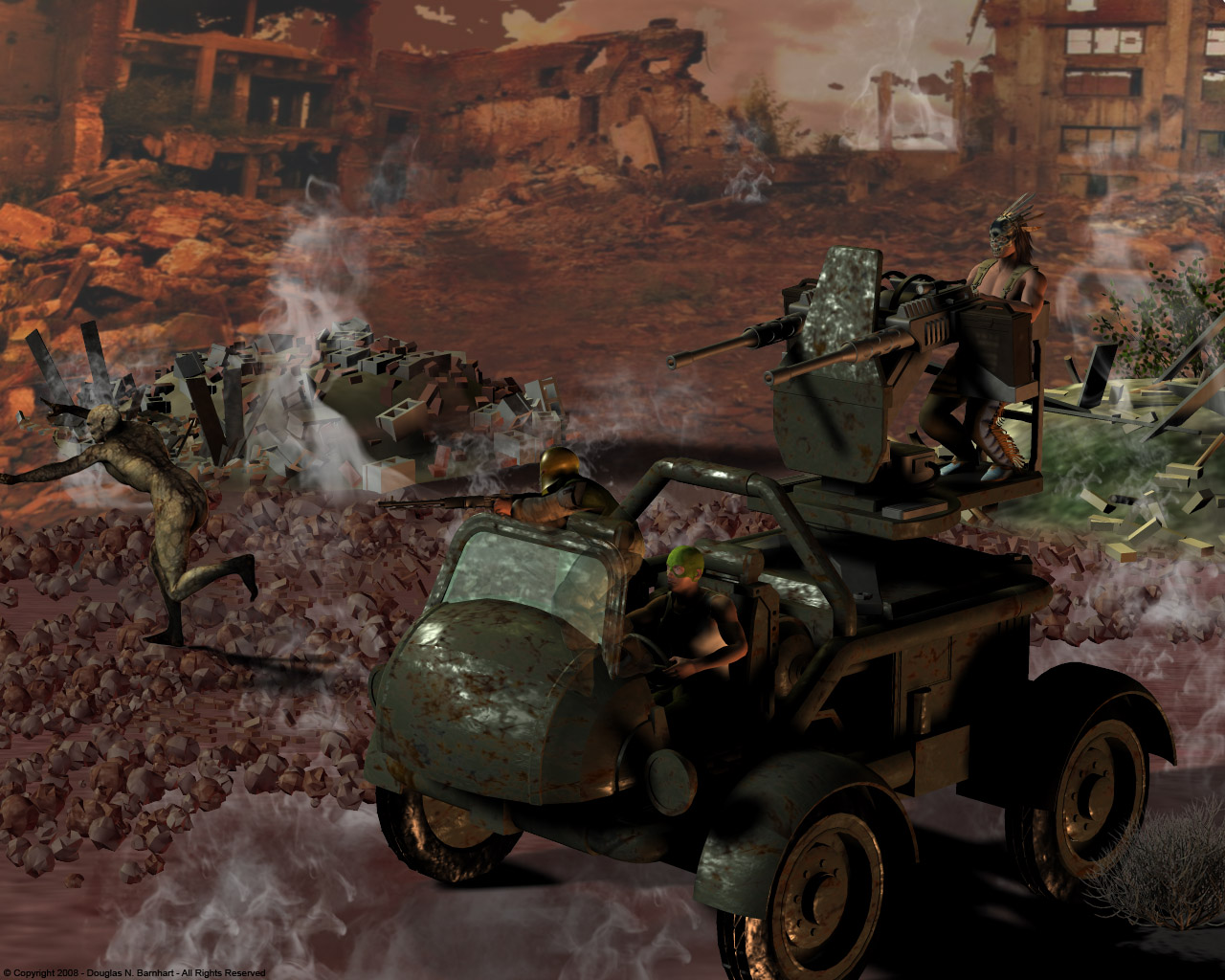 Zombie Rounds: This render was done in Poser, and features the Zombie vehicle from VP, but with my own textures to make it look more beaten up.  The background was also rendered in Poser, but it was done separately from the vehicle.  I ran out of memory in Poser, due to the complexity.  I composited them together in Photoshop, and the whisps of smoke are the only post production work.