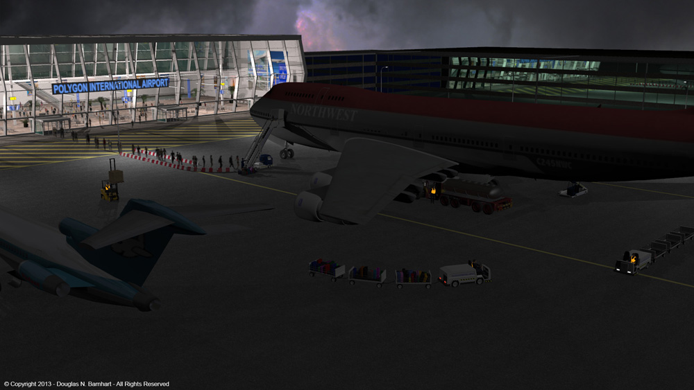 Leaving on a jet plane: This has a 747 and 727 from VP.  The airport and ground vehicles are by 2nd_World.