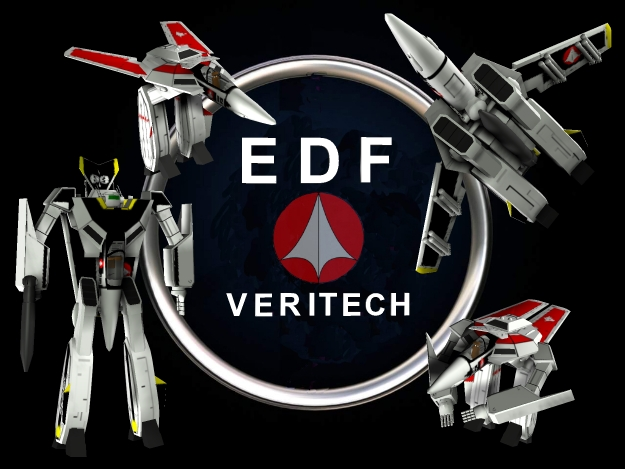 EDF Veritech Poster: I designed this as a promotional poster for the company who produce the Veritech fighter for the Earth Defence Forces (yes I know it does not really exist). The poster features the EDF logo at its centre and the pictures show the four modes the Veritech is capable of operating in. The white ring which links the four Veritech pictures