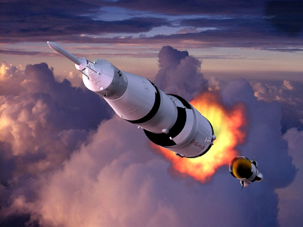 Third Stage Separation: Seen here the Apollo Saturn 5 moon rocket as its third separates and      its second stage ignites sending the craft into Earth orbit on its      journey to the Moon.
