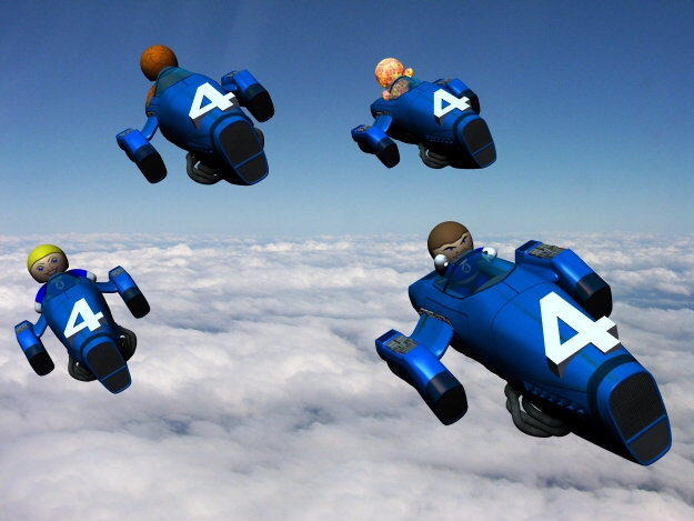 The Fantasic Four: Flying into action its the Fantastic Four led by their team leader Reed Richards.  In a Veeple universe anything is possible.