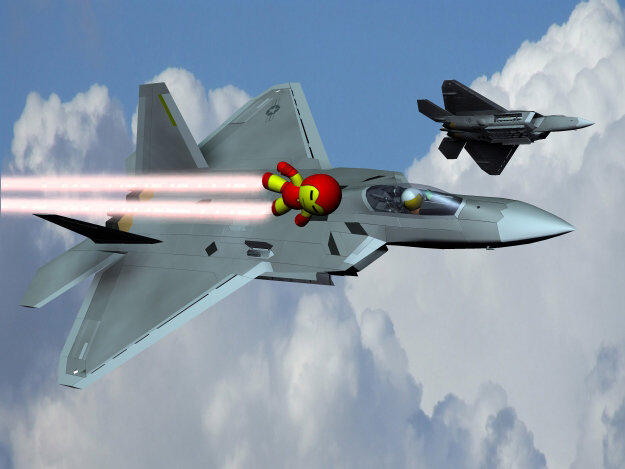 He is Iron Man: Is it a bird?  Is it a plane?  No its the Iron Man of the Veeple Universe going up against two F-22 Raper`s of the USAF.  In a Veeple Universe anything is possible.