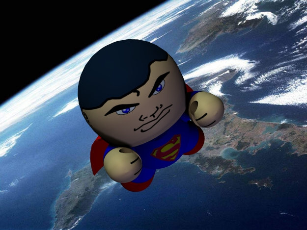 Man of Steel: Its Superman, Earth`s first hero, on patrol in Earth orbit.  He`s ready to right the wrong`s, and bash the bad guys.  In a Veeple Universe just about anything is possible.
