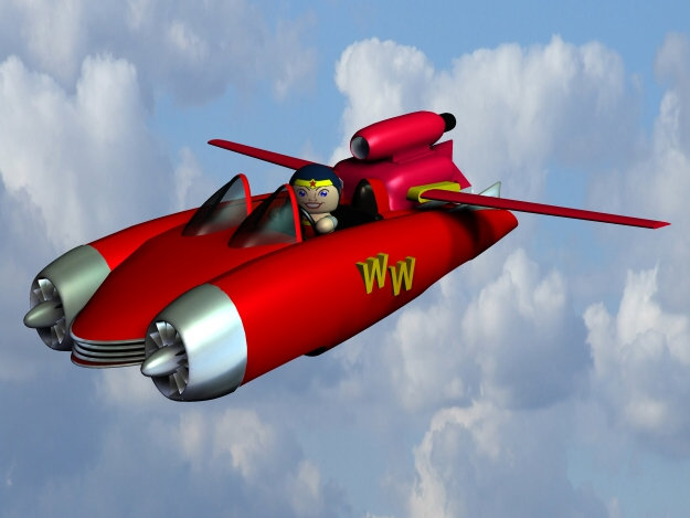 My New Aero-Car: Is it a bird?  Is it a plane?  Is it even Linda Carter?  No - It`s the Wonder Woman of the Veeple Universe out for a  spin in the new Aero-Car.  Hey its the Veeple Universe, anything is possible.