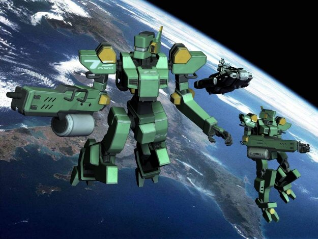 Sentinels in Space: Sentinel robot mechs in space with the SDF-1.