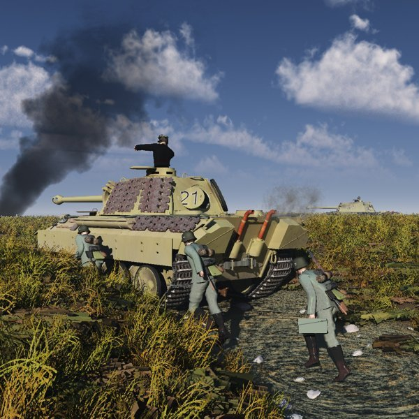 Kursk: A picture with my soon to be released PzV model D tank representing D models panthers and soldiers advancing towards Kursk