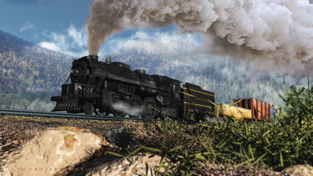 Uphill Pull: Another Steam Locomotive illustration using the VP Engine this time with the Coal Tender and other rail cars.