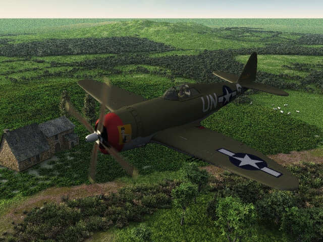 Heading home: The P-47 is Bazze's mesh available here in the store. The texture is of Lt Samual Stamps of the 56th FG in 1944 and was made by me.