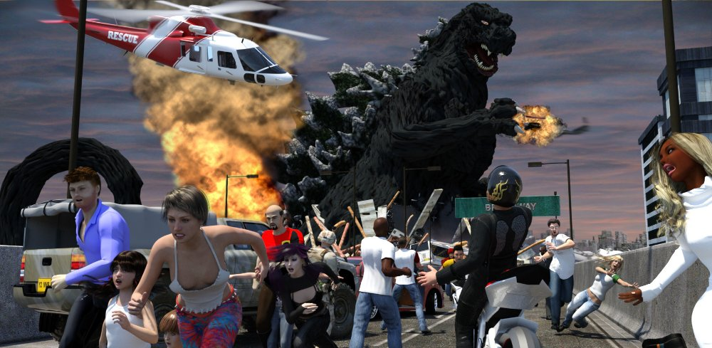 The King Returns: One of many fanart pieces I`ve done featuring Godzilla, King Of The Monsters! Godzilla is made from Daz`s Kaiju The Giant Monster by Valandar, heavily morphed, with Garee`s T rex plus backplates and Scott Aryes`s Final Wars Goji for the arms. Iray render in Daz Studio 4.9, slight postwork in Photoshop.