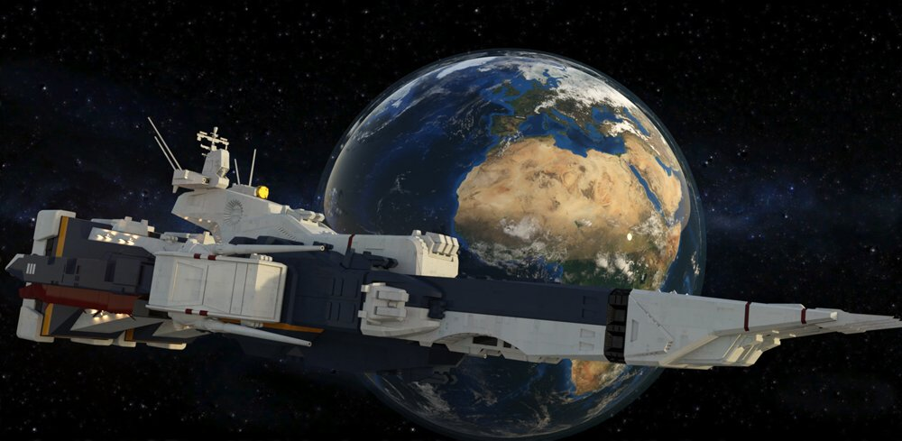 SDF-1 In Orbit (cruiser mode): VP`s freebie SDF-1, with added textures. Daz Iray render.