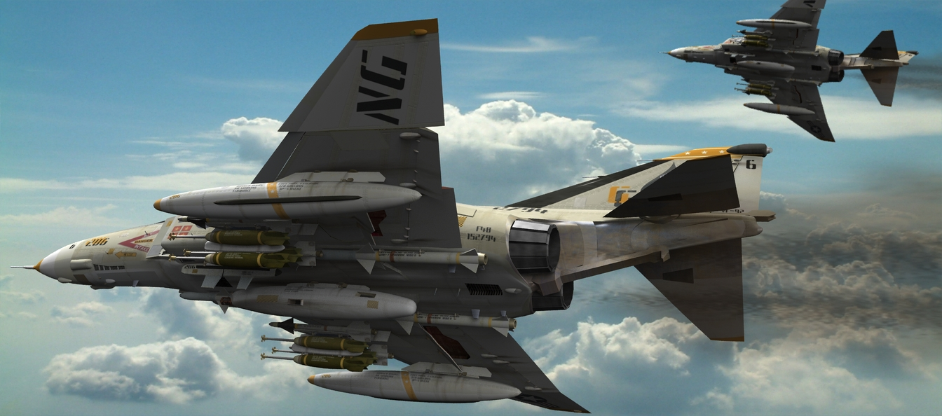 Lead Sled: The F4 Phantom was a good aircraft in it`s time but early versions had a few peculiarities that needed to be sorted out. Here I`ve depicted a pair of Navy F4B`s rolling out of a holding pattern to go
