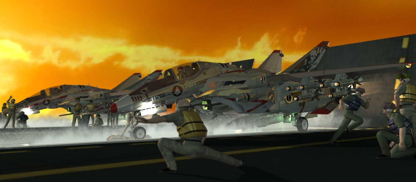 Sunset Launch: VGF-14 Wildcat, weapons, pilots, and Macross fan textures by me.