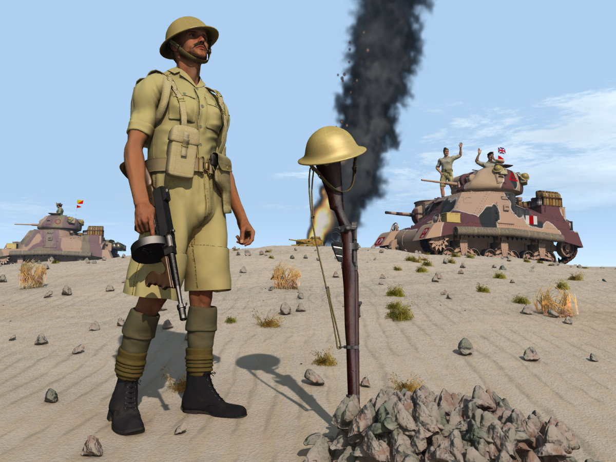 Desert Rats: Set up figures in poser (including tanks) & rendered in vue .