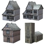 Click to see information about the 'Low Polygon Medieval Buildings 4 (for DAZ Studio)'.