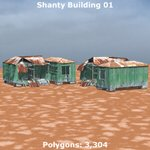 Shanty Town Buildings 1: Set 1 (for Poser)